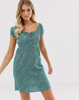 Pimkie dress with square neck in ditsy floral print