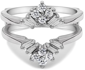 TwoBirch Cubic Zirconia Mounted In Sterling Silver V Shaped Round and Tapered Baguette Ring Guard (0.56ctw)