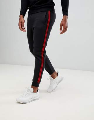 Pull&Bear joggers with side stripe in black