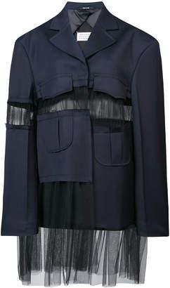 Maison Margiela sheer-panel fitted coat