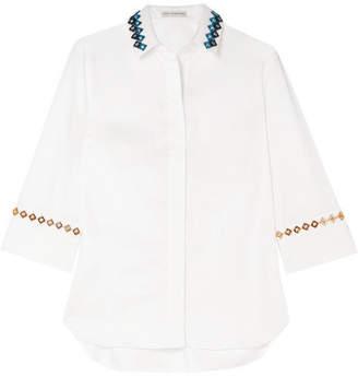Mary Katrantzou Rita Embellished Cotton-blend Shirt - White