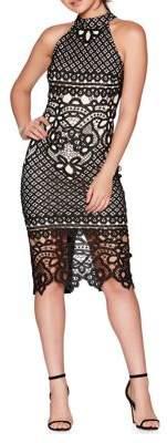 Quiz Crochet Lace Halter Bodycon Dress