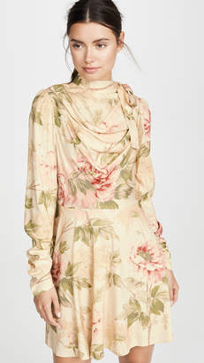 Zimmermann Espionage Silk Cowl Mini Dress