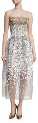 Zac Posen Strapless Sequined Illusion Gown, White/Black $9,990 thestylecure.com