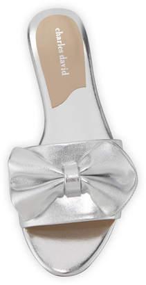 Charles David Slipper Metallic Bow Flat Slide Sandal