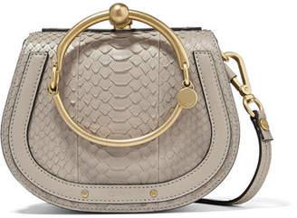 Chloé Nile Bracelet Small Leather-trimmed Python Shoulder Bag - Gray