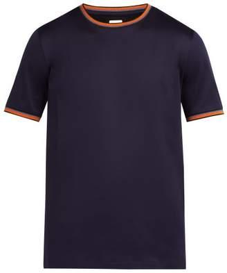 Paul Smith Artist Striped Trim Cotton T Shirt - Mens - Navy