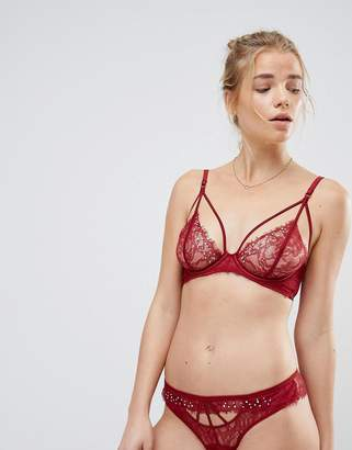 New Look Lace Rhinestone And Strapping Bralette