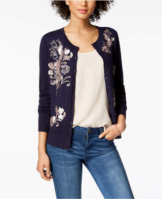 Charter Club Embroidered Sequined Cardigan, Created for Macy's