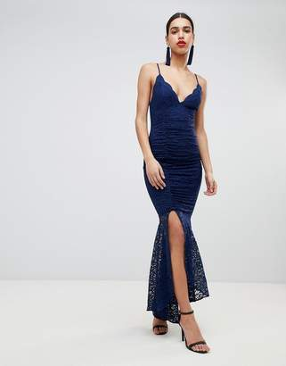 Asos Design DESIGN deep plunge lace bodycon maxi dress with fishtail