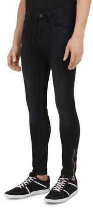 The Kooples Zipper Slim Fit Jeans in Black Washed