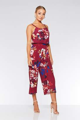 24864f554c Quiz Berry Floral Print Culotte Jumpsuit