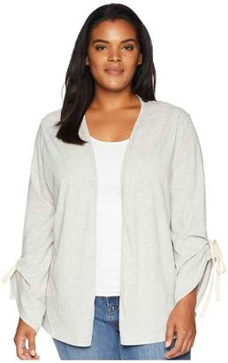 Bobeau B Collection by Plus Size Nia Rouched Sleeve Knit Cardigan Women's Sweater
