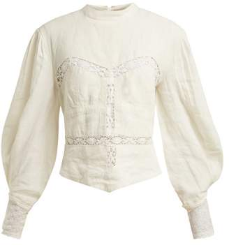 Isabel Marant Lyneth Lace High Neck Linen Top - Womens - White