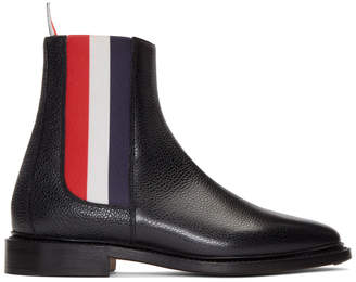 Thom Browne Black Tricolor Chelsea Boots