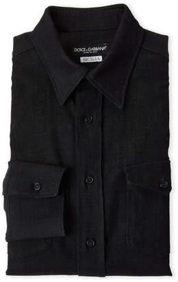 Dolce & Gabbana Dark Navy Sicilia Fit Chest Pocket Dress Shirt