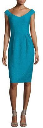 Nanette Lepore Off-Shoulder V-Neck Textured Sheath Dress $298 thestylecure.com