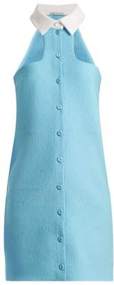Emilia Wickstead Safron Halterneck Cloque Mini Dress - Womens - Light Blue