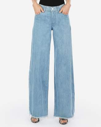 Express High Waisted Light Wash Wide Leg Jeans