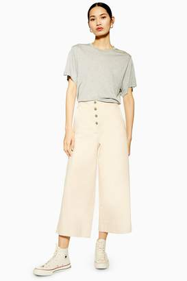 Topshop Womens **Button Crop Jeans By Peach