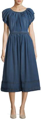 Co Crewneck Short-Sleeve A-Line Midi Dress
