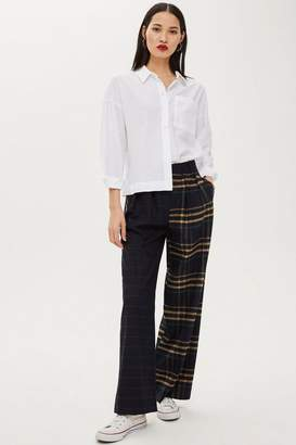 Topshop PETITE Mixed Check Wide Trousers