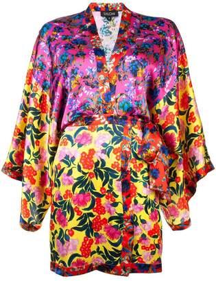 Saloni floral wrap dress