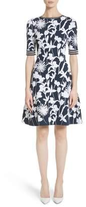 Oscar de la Renta Floral Applique Intarsia Knit Dress