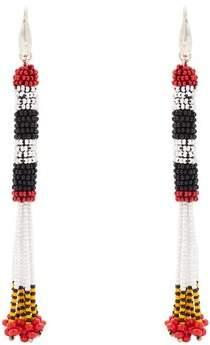 Bead-embellished tassel-drop earrings