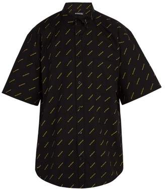 Balenciaga Logo Print Short Sleeve Shirt - Mens - Black