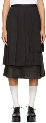 Noir Kei Ninomiya Black Alternating Pleat Skirt