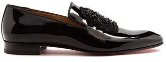 Christian Louboutin Ecupump Logo Crest Patent Leather Loafers - Mens - Black