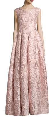 Talbot Runhof Notion Poppy Relief Cap-Sleeve V-Neck Gown, Light Pink