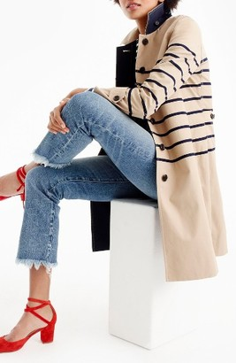 Women's J.crew Stripe Trench Coat $228 thestylecure.com