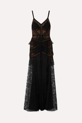 Elie Saab Paneled Georgette, Lace And Point D'esprit Gown - Black