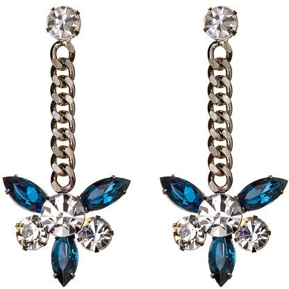Yochi Montana Crystal with Chain Earrings