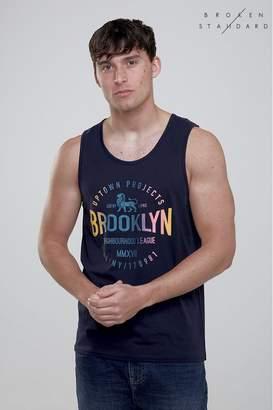 Mens Broken Standard Brooklyn Print Vest - Blue