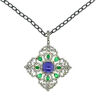 Arthur Marder Fine Jewelry Silver 4.17 Ct. Tw. Diamond & Gemstone Necklace