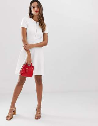 Morgan zip front lace back knitted skater dress in white