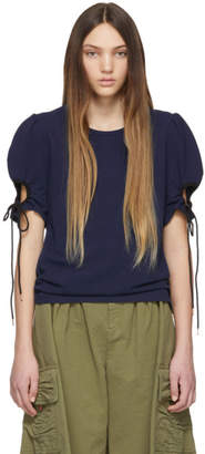 See by Chloe Navy Puff Sleeve Blouse