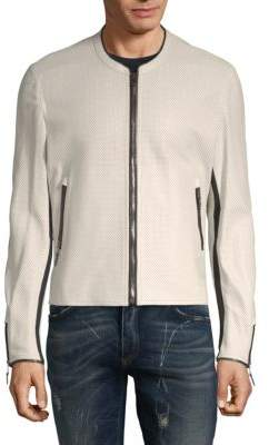 Roberto Cavalli Perforated Leather Bomber Jacket