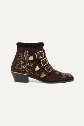 Chloé Susanna Shearling-lined Studded Suede Ankle Boots - Brown