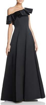 Paule Ka Duchess Satin Ruffled One-Shoulder Gown