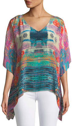 Tolani Briyana Watercolor-Print Silk Tunic Top, Plus Size