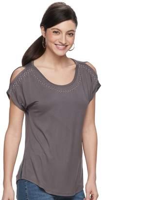 Apt. 9 Women's Embellished Cold-Shoulder Tee