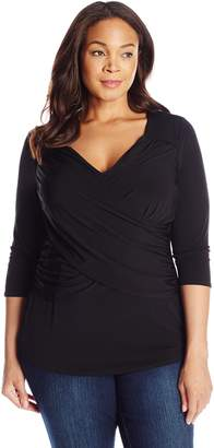 NY Collection Women's Plus-Size B-Slim Cross Front Pullover