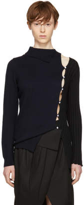 Jacquemus Black and Navy La Maille Coupee Cardigan