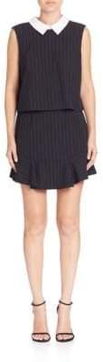 BCBGMAXAZRIA Pinstripe Collared Popover Dress