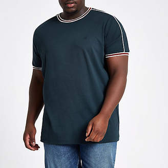 River Island Big and Tall navy tipped crew neck T-shirt