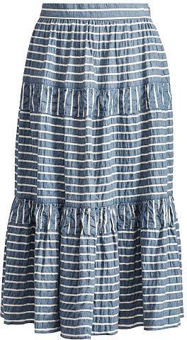 Ralph Lauren Lauren Seersucker Midi Skirt